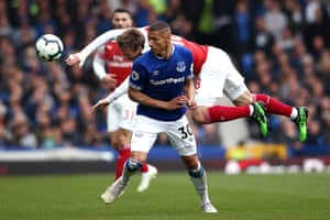 Nacho Monreal of Arsenal throws himsels at a ball as Richarlison of Everton moves out the way at Goodison Park. The Toffees won the match 1-0 thanks to Phil Jagielka's 10th minute strike.