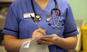 A nurse in an NHS hospital ward