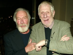 Actor Christopher Plummer and director Jonathan Miller attend the after party for Lincoln Center's opening night of King Lear in 2004 in New York City