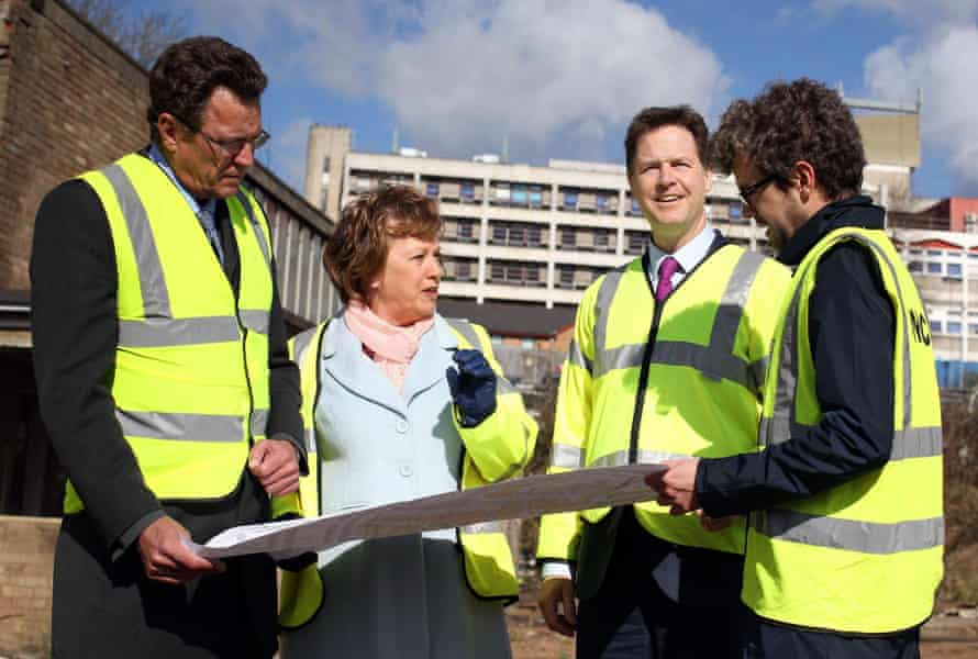 Nick Clegg during a visit to the construction site for the Watford Health Campus.