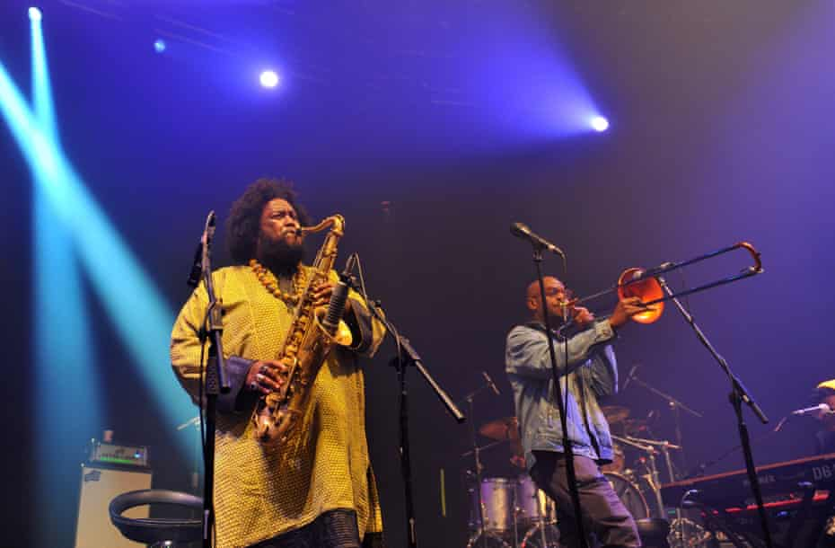 Kamasi Washington, alongside trombonist Ryan Porter, performing at London's Roundhouse last month.