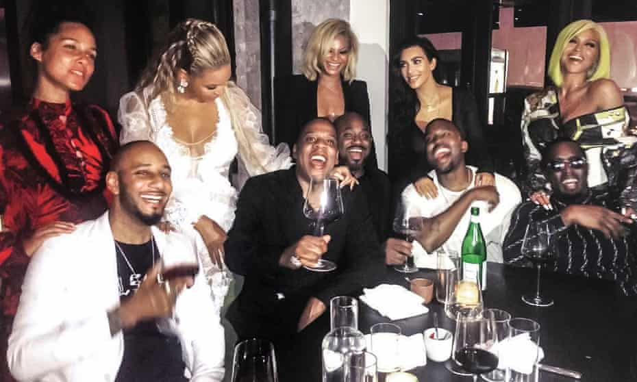 Clockwise from top left: Alicia Keys; Beyoncé; Lauren Branche; Kim Kardashian-West; Cassie; Sean Combs; Kanye West; Steve Stoute; Jay-Z; Swizz Beatz
