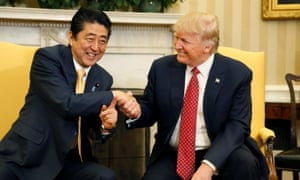 Japanese prime minister Shinzo Abe with US president Donald Trump at the White House in February.