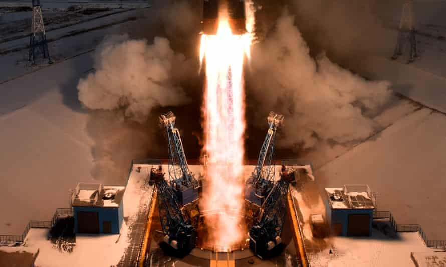 The Soyuz-2.1b rocket carrying Russia's Meteor-M 2-1 weather satellite and other equipment lifts off from the launch pad at the Vostochny cosmodrome
