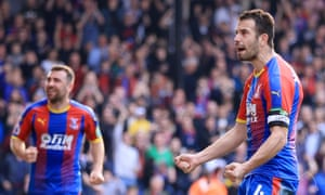 Luka Milivojevic celebrates after scoring from the spot for Crystal Palace against Huddersfield.