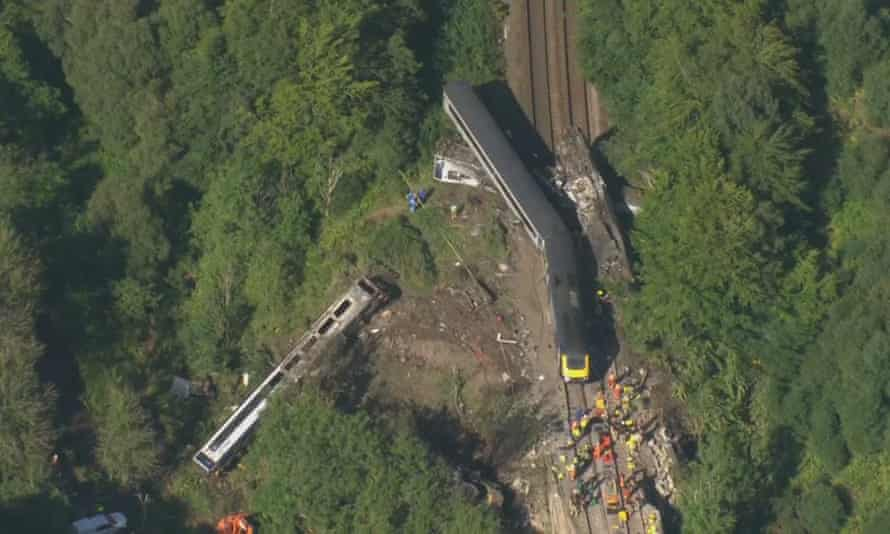 The 6:38am Aberdeen to Glasgow service came off the tracks and slid down an embankment near Carmont.