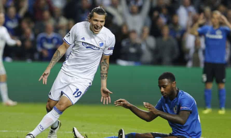 FC Copenhagen's Federico Santander celebrates as Club Brugge's Stefano Denswil's own goal put the hosts firmly in charge of their recent Champions League encounter.