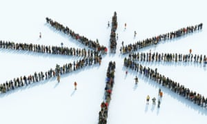 Queues of people forming a star shape