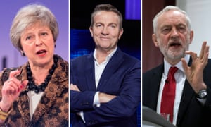 TV stars Theresa May and Jeremy Corbyn (left, right), and The Chase's host, Bradley Walsh (centre).