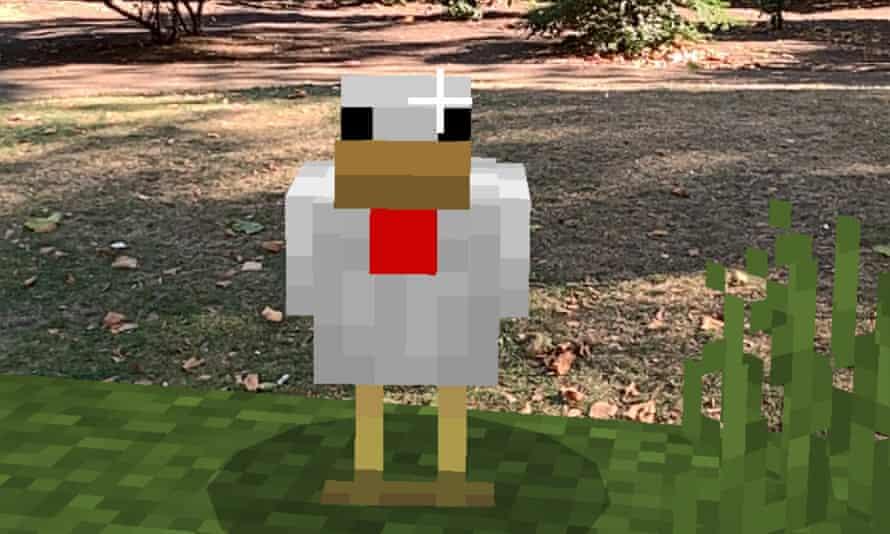 A Minecraft chicken in London ... Minecraft Earth.