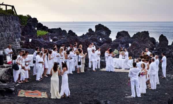A wedding celebration on the volcanic island of Stromboli, off Sicily