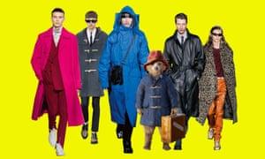 Composite of coat pictures for men's coat quiz