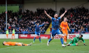 Rochdale's Aaron Wilbraham scores their equaliser.