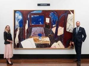 The Whiteley painting with Menzies Art Brands representatives