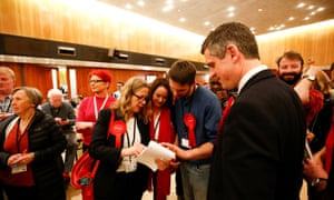 Labour party supporters at the count in Wandsworth town hall after the local government elections on 4 May