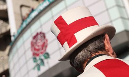 An England fan outside Twickenham in December last year as the rugby team prepared to meet Australia.