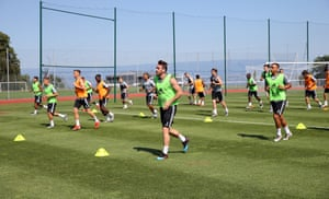 Leicester players during pre-season training.