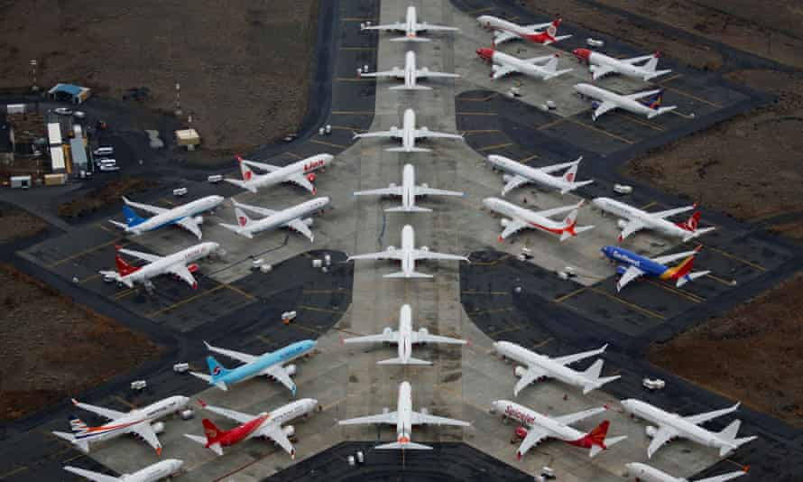 Grounded Boeing 737 Max aircraft at Grant County international airport in Moses Lake, Washington, US