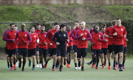 The US team in training. Bunce says: 'There are already five million kids playing the game and the level of interest is definitely there.'