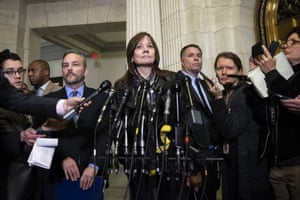 Mary Barra, the chief executive officer of General Motors, speaks to reporters in Washington.