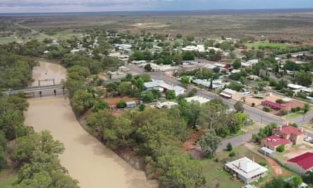 Wilcannia, where the Darling river is currently full, in a screengrab from the video made by students and teachers at Wilcannia state school.