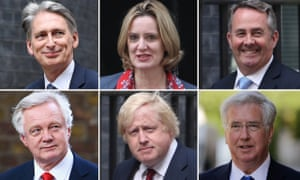 New senior cabinet members Philip Hammond, Amber Rudd, Liam Fox. David Davis, Boris Johnson and Michael Fallon.