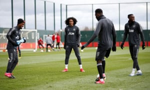 Manchester United players at their training centre.