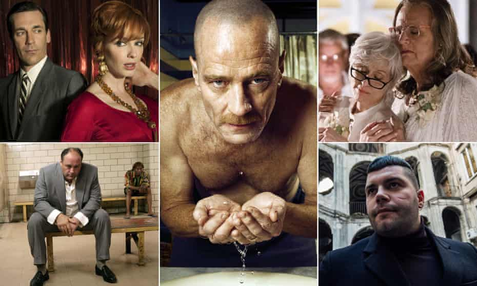 Box clever … clockwise from left: The Sopranos; Mad Men; Breaking Bad; Transparent and Gomorrah.