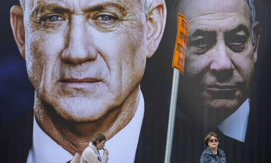 An election campaign poster for Benny Gantz's opposition Blue and White party in Ramat Gan, Israel