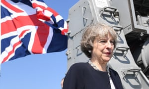Theresa May on a British navy ship today during her visit to Bahrain.