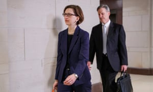 Laura Cooper arrives for deposition during the impeachment inquiry at US Capitol on 30 October.