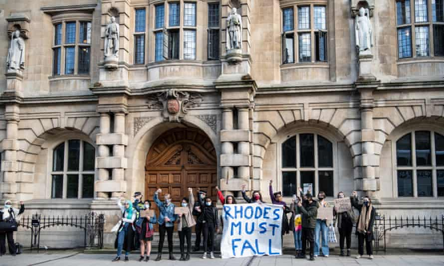 Campaigners protesting outside Oriel College, Oxford, in May.