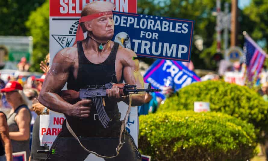 Donald Trump supporters await his arrival in Scranton, Joe Biden's home town.