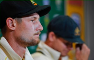 Cameron Bancroft (left) and Steve Smith, at a press conference in South Africa, at which they admitted to ball tampering.