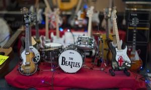 Beatles memorabilia and merchandise on sale in a shop window