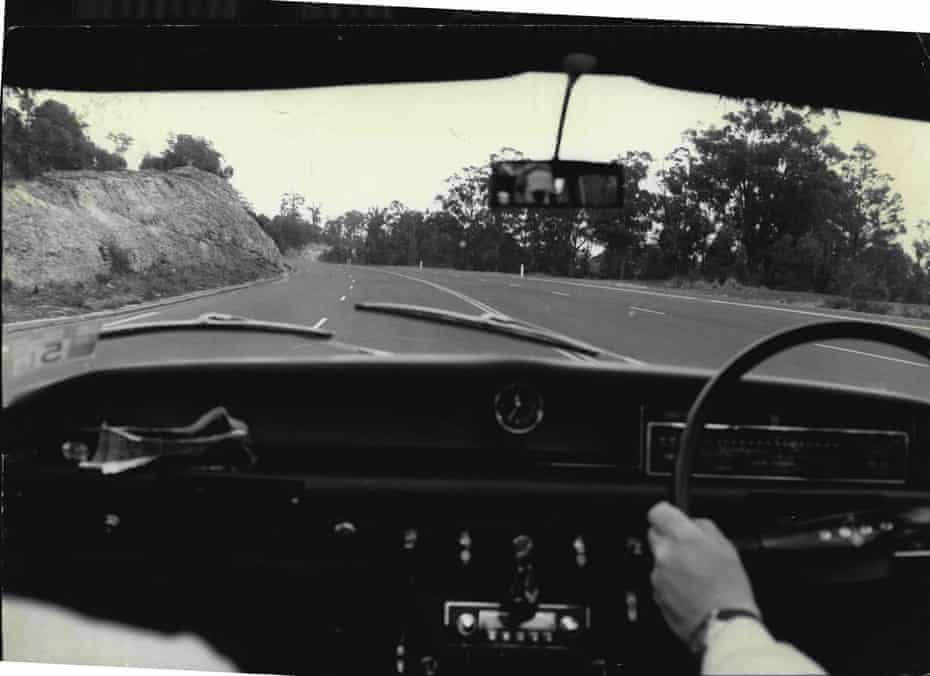 Shot taken from inside car of a curve in motorway.