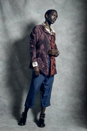Cardigan price on request, shirt £610, jeans £210, and shoes £615, all viviennewestwood.com