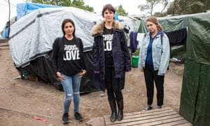 Dani Lawrence, Lliana Bird and Josie Naughton photographed in the refugee camp at Calais last week.
