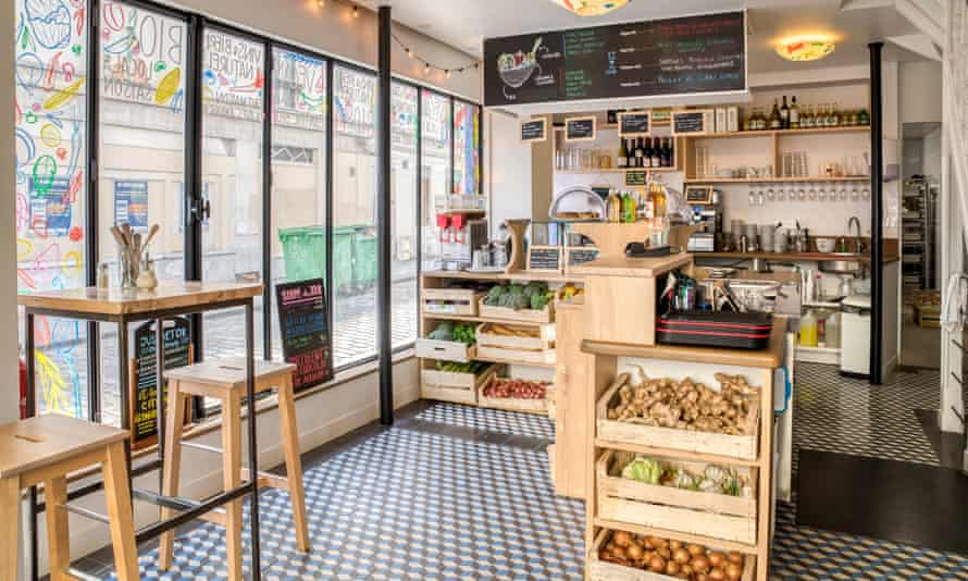 Le Cremieux interior with counter stools and veg