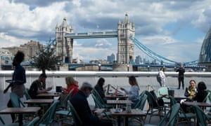 A view of Tower Bridge from the outdoor dining area at Tavolino Bar & Kitchen on May 18, 2021 in London, England.