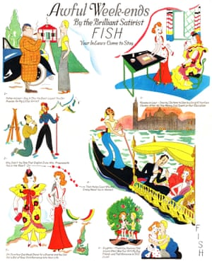 Anne Harriet Fish's Awful Weekends, Your In-Laws Come to Stay (1938) from Awful Weekends – and Guests, Methuen Facsimile British cartoonist Anne Harriet Fish signed her work with the gender ambiguous 'Fish' to avoid discrimination when working in the 1920s and 30s. Fish drew cartoons satirising the 'flapper' lifestyle for the Tatler and also contributed to American Vogue, Vanity Fair, Cosmopolitan and Punch.