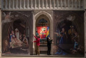 Chichester, England. A nativity artwork created is installed at Chichester Cathedral.