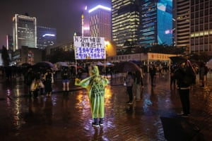 A protester during a rally at Edinburgh Place in the Central District in Hong Kong yesterday