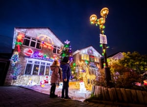 Houses on Stone Brig Lane in Rothwell, Yorkshire, are illuminated by Christmas lights during an event that has become known as the Stone Brig Lights. Every year the residents decorate their homes and gardens with elaborate decorations, transforming their street into a winter wonderland