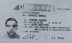 This is reputedly the ID card in the name of the suspect, Mohamed Lahouaiej-Bouhlel.