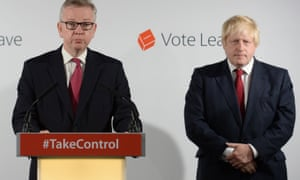 Michael Gove, left, and Boris Johnson hold a press conference at Vote Leave's London HQ on Friday.
