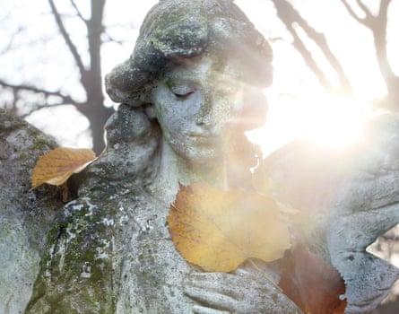 An angel statue at St Matthaeus Cemetery, Berlin.