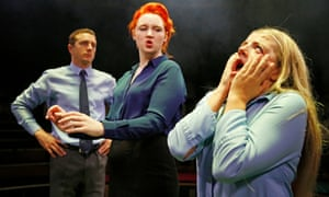Jack Wilkinson, Katherine Pierce and Charlotte O'Leary in Sticks and Stones by Vinay Patel at the Roundabout @ Summerhall