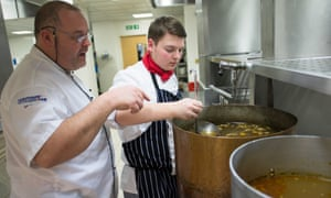 A catering and hospitality student being tutored at Croydon college
