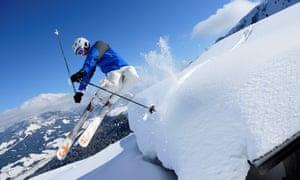 Skier mid-air at St Johann in the Austrian Tirol